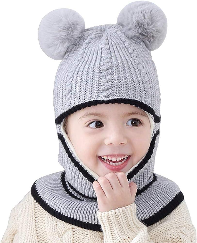 Berretto invernale in pile per bambini con cappuccio a maglia Reciy