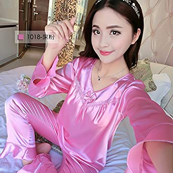 e7056f5d06 MH-RITA 2017 New Brand Silk Pajamas Set Women Spring Autumn Long Sleeve  Sleepcoat