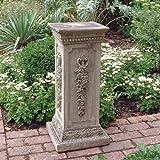 Stone Statue Plinth - Floral Column Pedestal