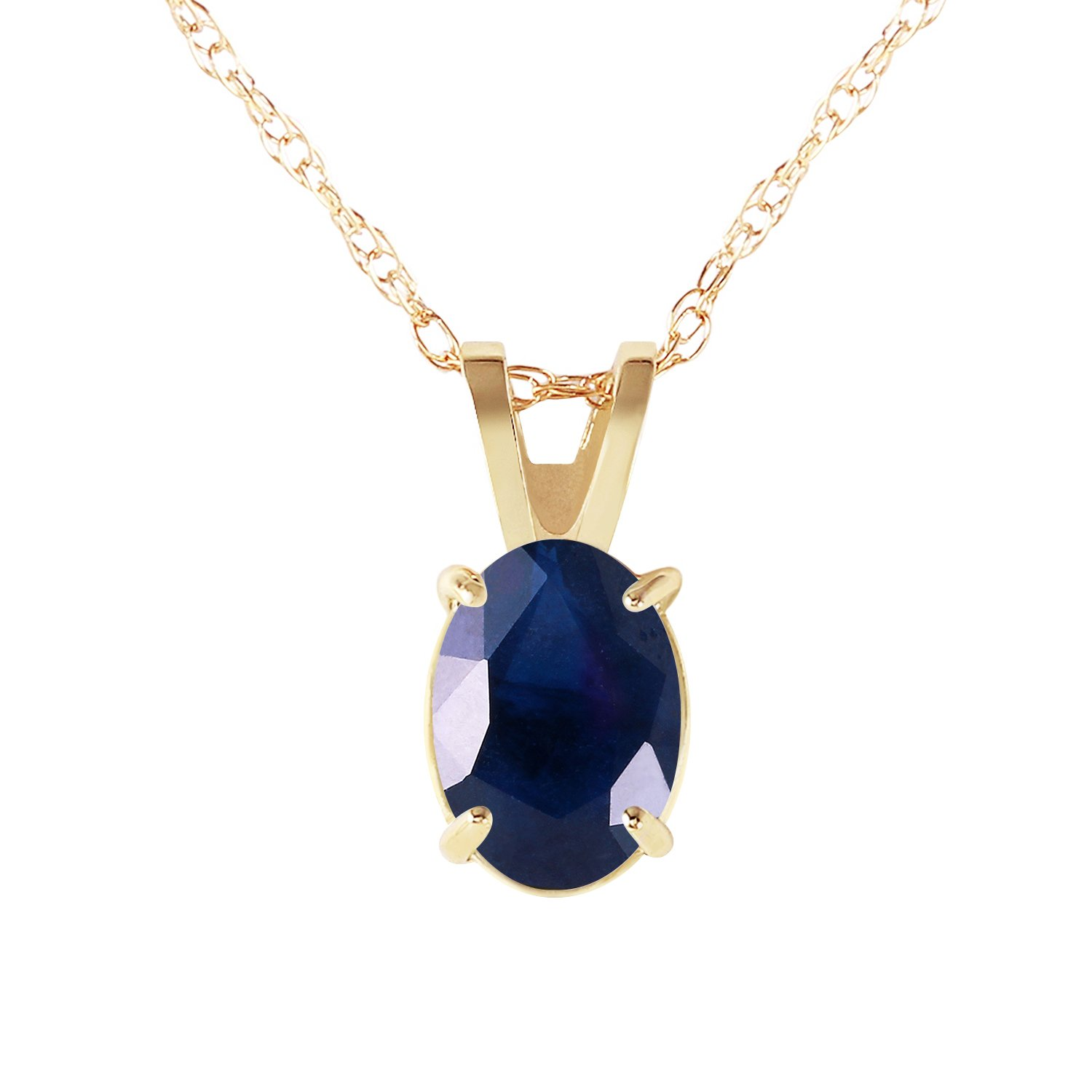 Galaxy Gold 1 Carat 14k 18'' Solid Gold Oval-shaped Natural Sapphire Pendant Necklace by Galaxy Gold