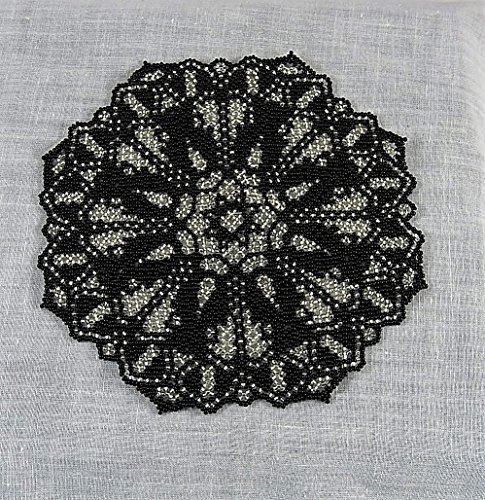 - Beaded doily black & silver