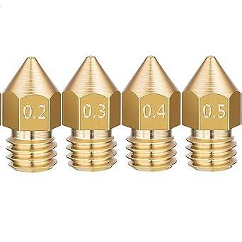 Tenlacum - Juego de 4 boquillas para impresora 3D de 0,2 mm, 0,3 ...