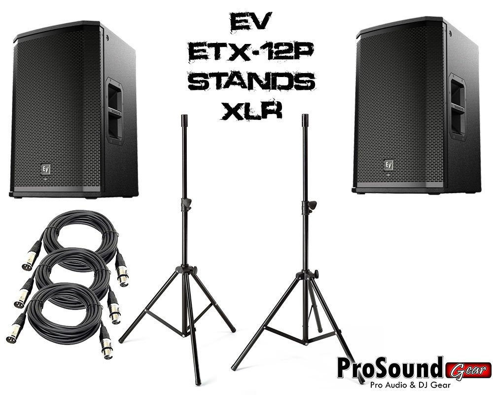 Electro-Voice ETX-12P 12'' Two-Way Powered Loudspeaker (Pair) - Accenta Heavy Speaker Stands w/ Bag and (2) PSC XLR Cables 20ft ea - ProSoundGear Authorized Dealer.