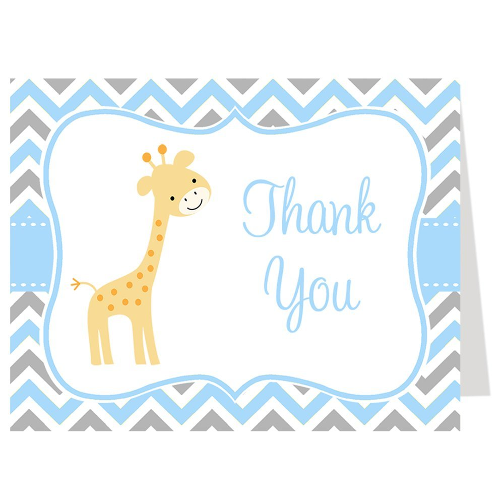 Chevron Giraffe, Baby Shower Thank You Cards, Chevron, Giraffe, Blue, Gray, Boy, Baby Shower, Set of 50 Printed Folding Thank You Notes with White Envelopes