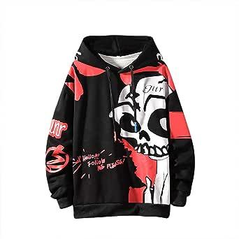 GURUNVANI Mens Graphic Hoodie Hooded Sweatshirt Ghost Print