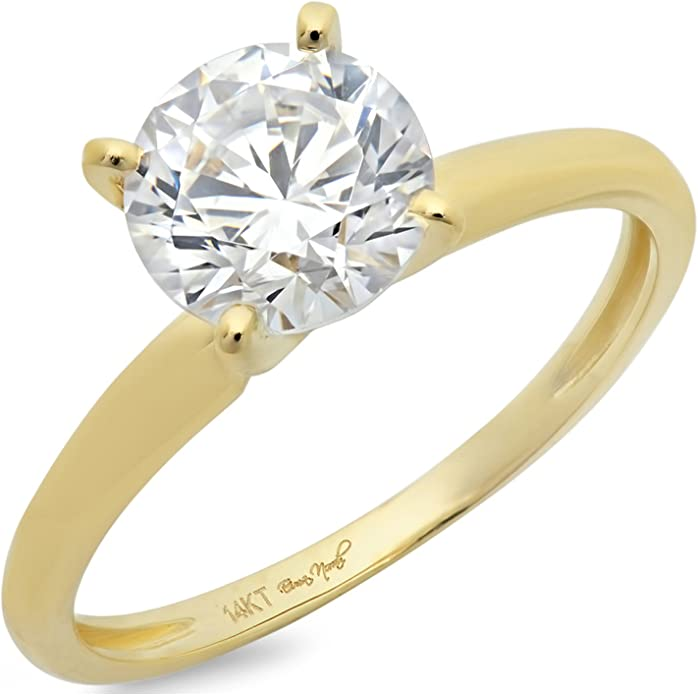 Clara Pucci 1.9 CT Brilliant Round Cut Solitaire Engagement Bridal Wedding Ring Solid 14k White Gold