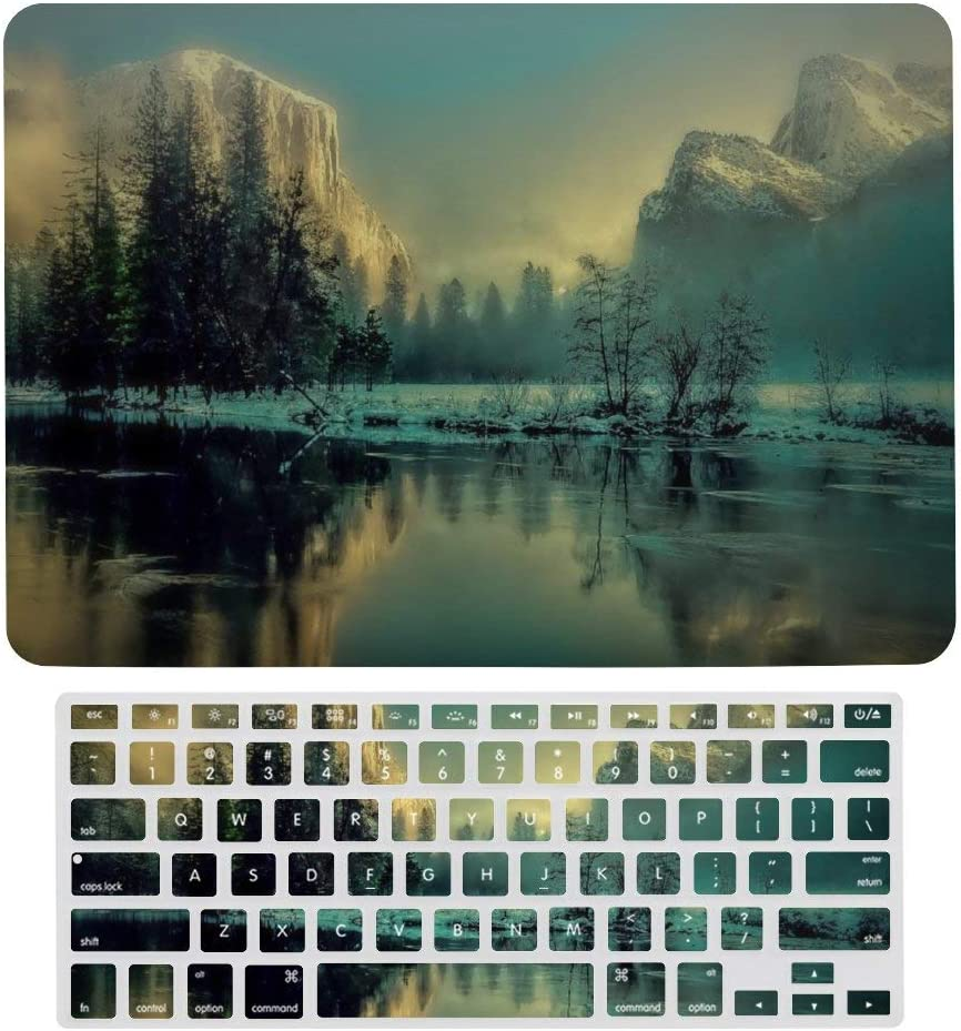for MacBook Air 13 inch Case Keyboard Protective Shell Set Yosemite Park Landscape Sunrise Sunset Mountains Hard Shell Protective Case with Keyboard Cover for A1466、A1369