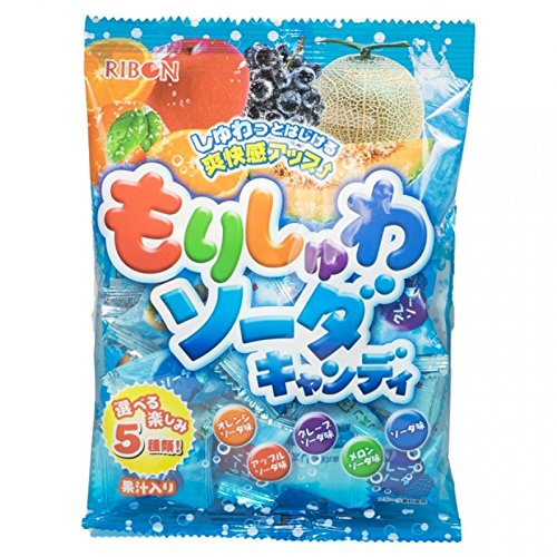 Ribon Morishuwa Hard Fizzy Candy Orange Apple Grape Melon Ramune Soda 1 bag of 2.59 oz