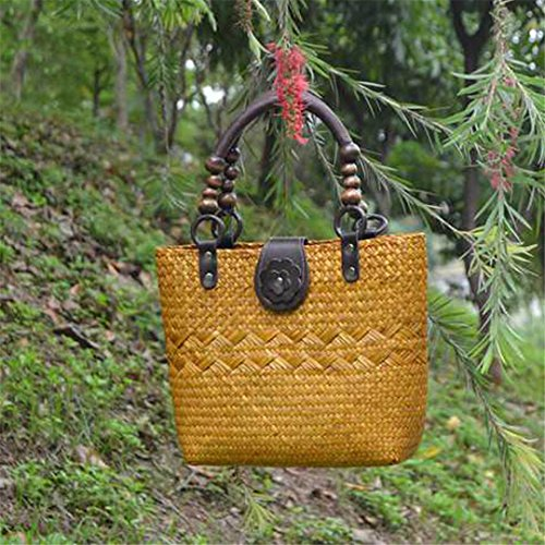 VersióN Tailandesa De The Straw Bag Bolsos De Mujer Paquete De Playa De Estilo Europeo Y Americano Paquete De Hierba De RatáN Bolsa De Algas Marinas Bs03Huang BS03huang