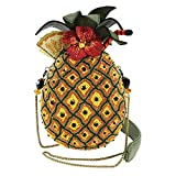 MARY FRANCES Fun in the Sun Beaded Pineapple Drink Novelty Handbag