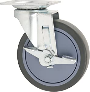 TPR Rubber Caster Wheel with Swiveling Top Plate w/ Brake - 5-Inch - 350 lb. Load Capacity - Non-Marking for Hospitals, Food Service, & Other Institutional Applications
