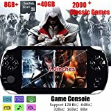 Handheld Game Console Portable Video Game Console 5 inch MP4 MP5 Players Built in 2000+classic games ebook/FM/3 MP Camera 128bit 8GB+32 GB TF card -Gifts for Boys Girls Kids Children