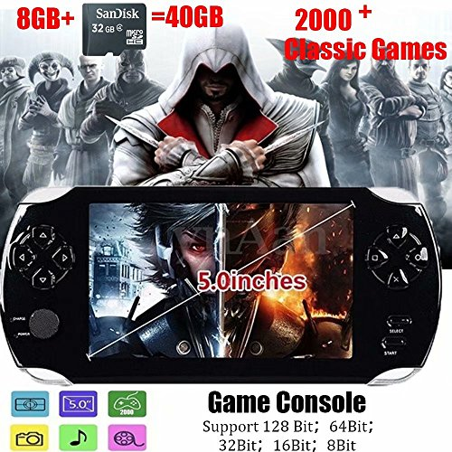 Handheld Game Console Portable Video Game Console 5 inch MP4 MP5 Players Built in 2000+classic games ebook/FM/3 MP Camera 128bit 8GB+32 GB TF card -Gifts for Boys Girls Kids Children by qiaoniuniu