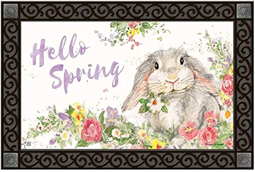 Studio M MatMates Hello Bunny Spring Easter Decorative Floor Mat Indoor or Outdoor Doormat with Eco-Friendly Recycled Rubber Backing, 18 x 30 Inches