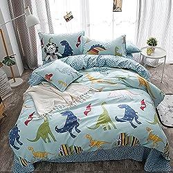 Merryfeel 100% cotton dinosaur print Duvet Cover Set for Kids Bedding - Full