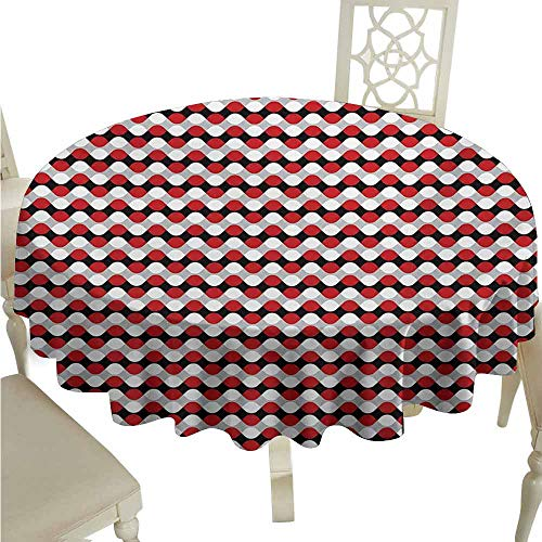 duommhome Geometric Waterproof Tablecloth Curved Lines with Bicolor Oval Shapes Abstract Flow Themed Pattern Easy Care D63 Vermilion Grey White