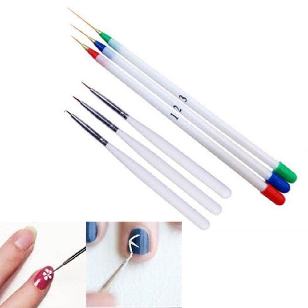 Buedvo 6pcs Nail Art Design Set Dotting Painting Drawing Brush Pen Tools