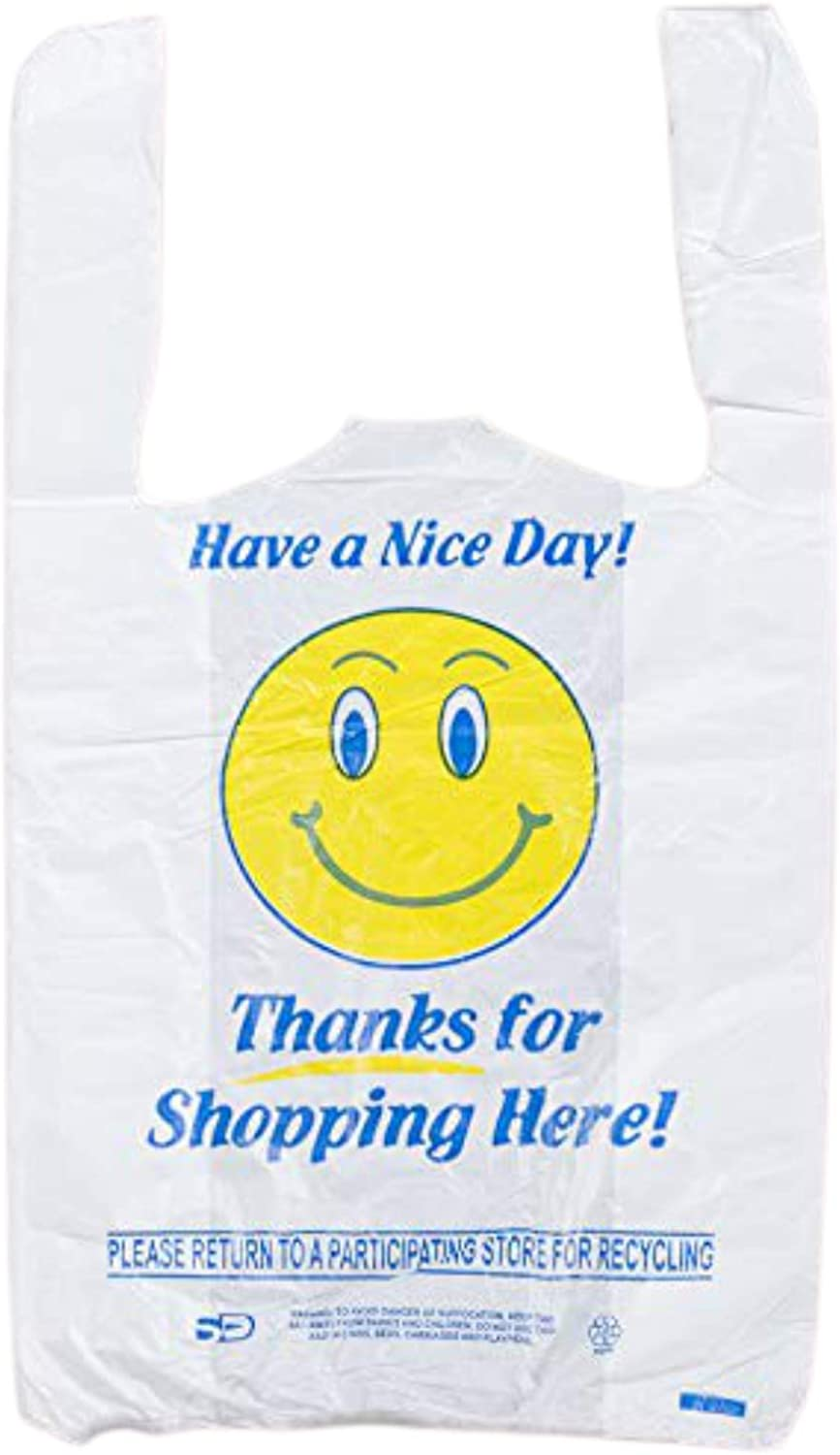 Pine Shopping Bags - Happy face Plastic Bags – Reusable Bags for Shopping, Grocery - T-shirt Plastic Bags | Heavy Duty Gift Carrier Market Bags | white | Pack of 95
