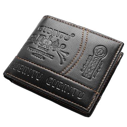 Daliuing Estilo de Hombre de Negocios Monedero Corto Billetera Portatarjetas Bolsillo Cubierta de Tarjeta de crédito Cuero Negro PU Monedero Bloque ...