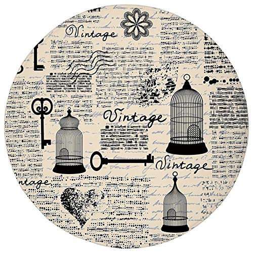 (Round Rug Mat Carpet,Old Newspaper Decor,Grunge Pattern with Bird Cages Keys Heart Shapes and Flower Decorative,Black Cream Baby Blue,Flannel Microfiber Non-slip Soft Absorbent,for Kitchen Floor Bathr)