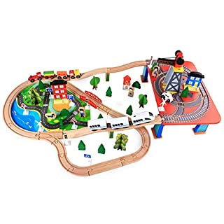 LXWM Wood Track Small Train Set Wooden DIY Solid Toy Assembled Building Model Toy 88 Pieces