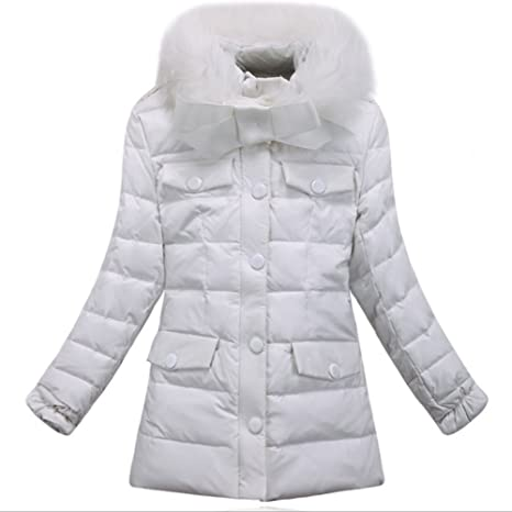 iikids Niñas de la chaqueta de cuello de piel de conejo abrigo de pluma del invierno