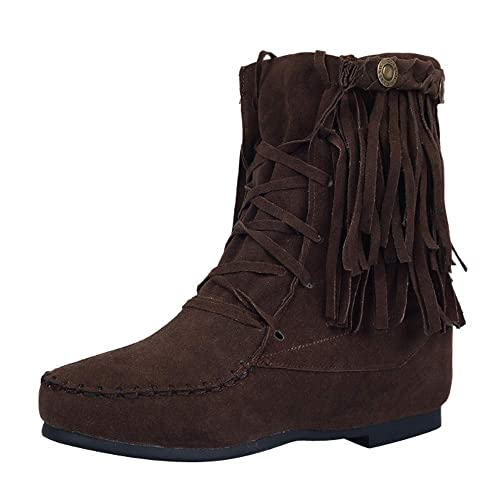 3108ba9bc0628 Amazon.com | Women's Tassel Flat Boots, Lace-up Suede Ankle Booties ...