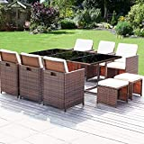 Homall 11 Pieces Patio Furniture Dining Set Patio Wicker Rattan Chair Sets Outdoor Furniture Cushioned Tempered Glass W/Ottoman Brown (PE Rattan)