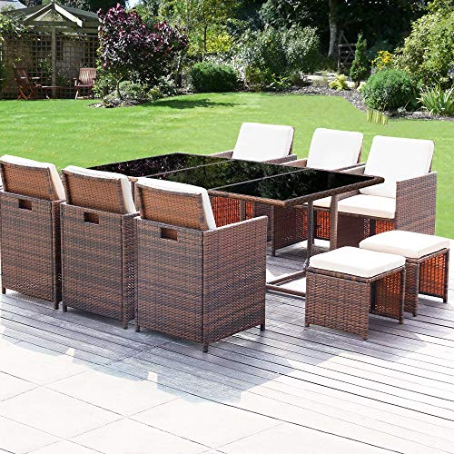 Homall 11 Pieces Patio Furniture Dining Set Patio Wicker Rattan Chair Sets Outdoor Furniture Cushioned Tempered Glass W/Ottoman Brown (PE Rattan) (Outdoor White Dining Sets Wicker)