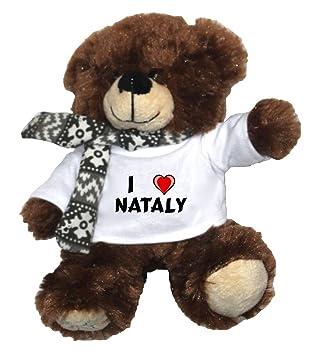 Oso marrón de peluche con Amo Nataly en la camiseta (nombre de pila/apellido