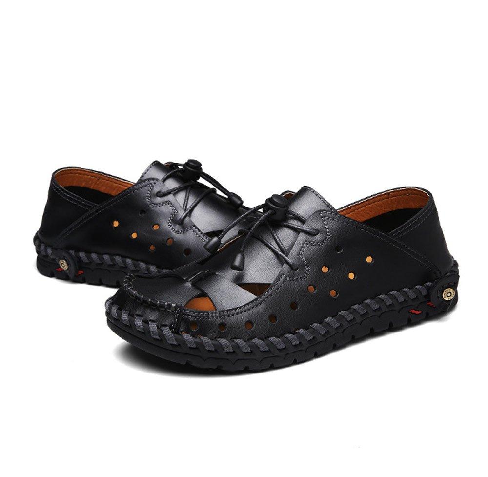 HAOYUXIANG Sommer Sandalen Herren Leder handgenähte Set Füße Strand Schuhe handgenähte Leder Männer coole Werg (Farbe : ROT Braun, größe : 43) Schwarz ceb934