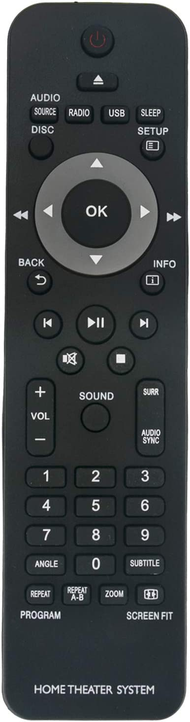 New Replaced Remote Control fit for Philips Home Theater System HTS2500/12 HTD3200 HTS2200 HTS2500 HTS2511 HTS3019 HTS3019/12 HTS3020 HTS3020/12 HTS3201 HTS3201/12 HTS3269 HTS3269/12 HTS3270 HTS3277