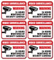"(6 Pack) Video Surveillance Sign - Decal Self Adhesive "" 2½ X 3½"" 4 Mil Vinyl Decal - Indoor & Outdoor Use - UV Protected & Waterproof - Sleek, Rounded Corners"