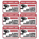 "(6 Pack) Video Surveillance Sign - Decal Self Adhesive "" 2½ X 3½"" 4 Mil Vinyl Decal — Indoor & Outdoor Use — UV Protected & Waterproof — Sleek, Rounded Corners"
