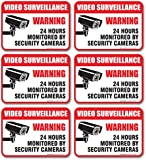 "(6 Pack) Video Surveillance Sign - Decal Self Adhesive "" 2½ X 3½"" 4 Mil Vinyl Decal - Indoor & Outdoor Use - UV Protected & Waterproof - Sleek, Rounded Corners"