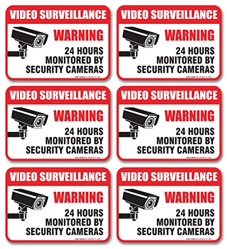 "(6 Pack) Video Surveillance Sign - Decal Self Adhesive"" 2½ X 3½"" 4 Mil Vinyl Decal — Indoor & Outdoor Use — UV Protected & Waterproof — Sleek, Rounded Corners"