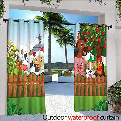 Cartoon Fashions Drape Cute Farm Animals on The Fence Comic Mascots with Dog Cow Horse for Kids Decor Outdoor Curtain Waterproof Rustproof Grommet Drape W84 x L108 Multi