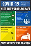 """NMC PST149C """"Keep the Workplace Safe"""" Social Distancing Poster, 0.015"""" thick Unrippable Vinyl Poster, 18"""" x 12"""""""