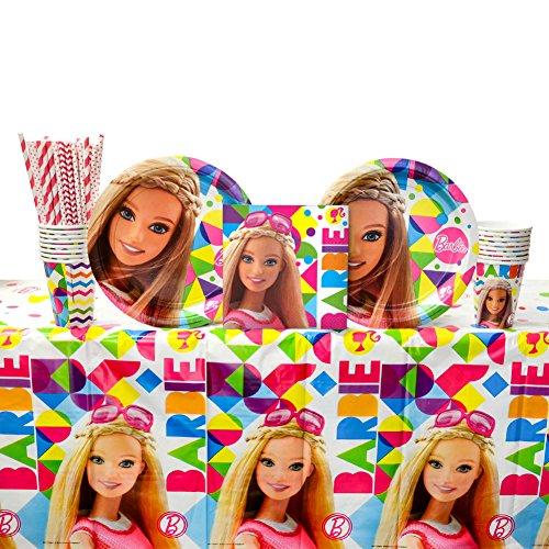 (Barbie Sparkle Party Supplies Pack for 16 Guests | Paper Straws, 16 Dinner Plates, 16 Luncheon 16 Napkins, Table Cover and Cups | The Perfect Barbie Birthday Party Setting For)