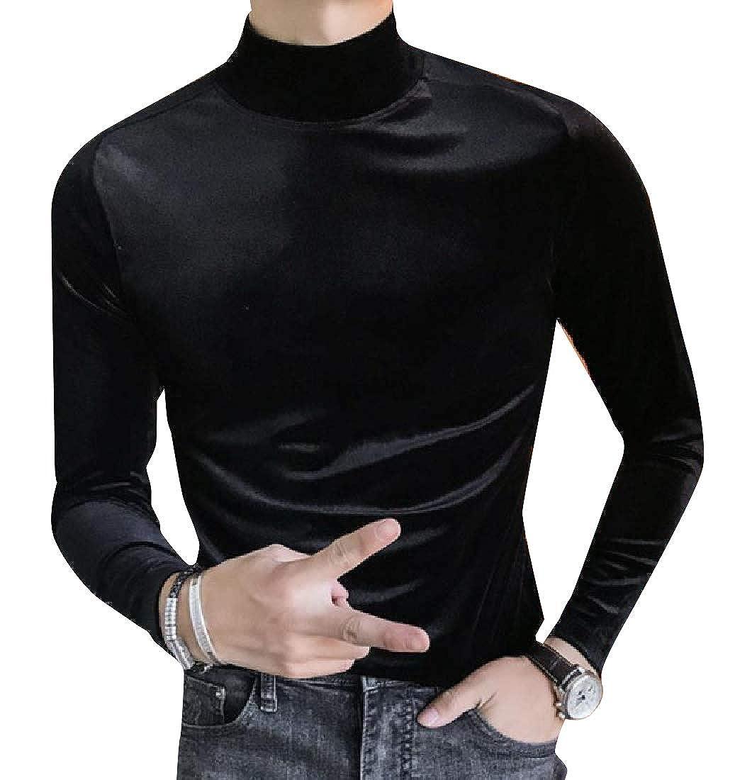Abetteric Mens Regular Fit Semi-hign Collar Plus Velvet Jersey Shirt