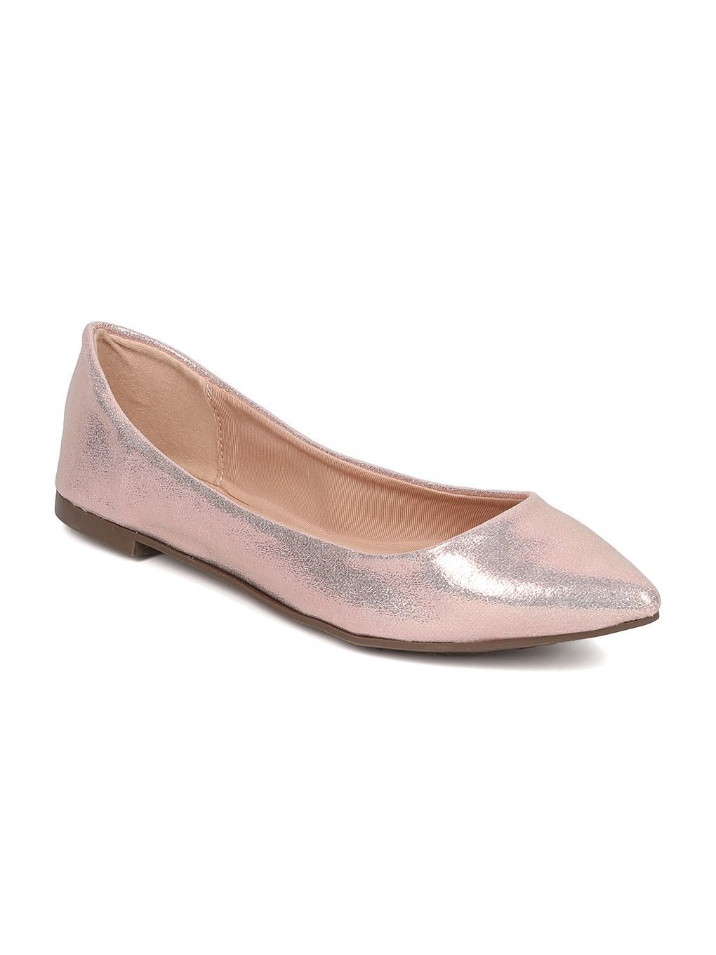 Breckelle's Women Faux Suede Pointy Toe Ballet Flat GH13 B06XYTLLTM 6 M US|Rose Gold