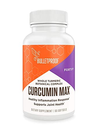 Bulletproof Curcumin Max, Bioavailable Natural Turmeric Complex, Ginger, Frankincense, Stephania, Enhanced Absorption Brain Octane Softgels 60 Softgels