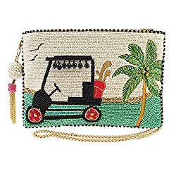 Golf Cart Beaded Clutch Handbag