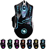 RGB Light up Wired Computer Mouse - Durable USB Laptop Led Mice w/ 7 Color Backlit, 4 Adjust DPI Up to 3200 for Gaming…