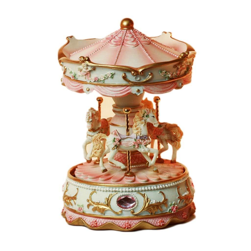 LILY-music box Manuelle Spieluhr Europäische Spieluhr, Kreative Karussell-Harz-Spieluhr mit Lichtornamenten Spieluhr Valentinstag Geburtstagsgeschenk Guter Sound (Farbe   Rosa) Rosa