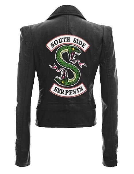 Riverdale Chaqueta de Auténtica Cuero Mujer Corto Adolescente Niña Serpientes Cuero Coole Leder Abrigos Chaqueta de