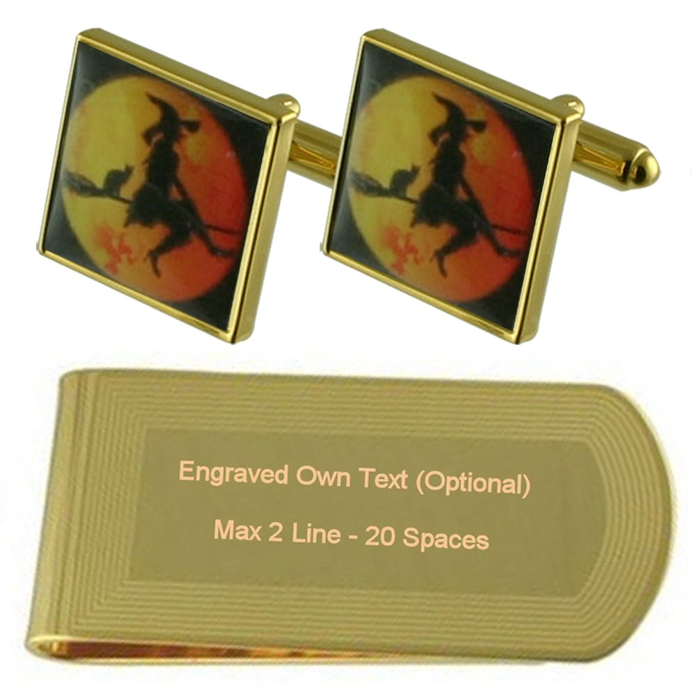 Halloween Gold-tone Cufflinks Money Clip Engraved Gift Set