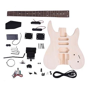 ammoon Inconcluso Kit de Bricolaje de la Guitarra Eléctrica Cuerpo de Tilo Palisandro Cuello de Arce Diseño Especial Sin Cabezal: Amazon.es: Instrumentos ...