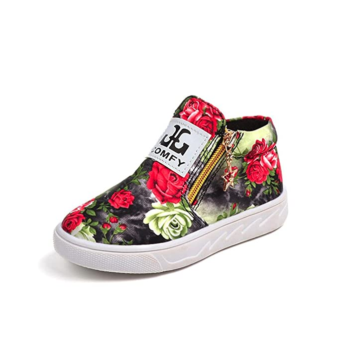 KONFA Teen Toddler Baby Girls Boys Floral Martin Boots,for 0-13 Years old,Kids Zipper Anti-Slip Leather Sneakers Shoes