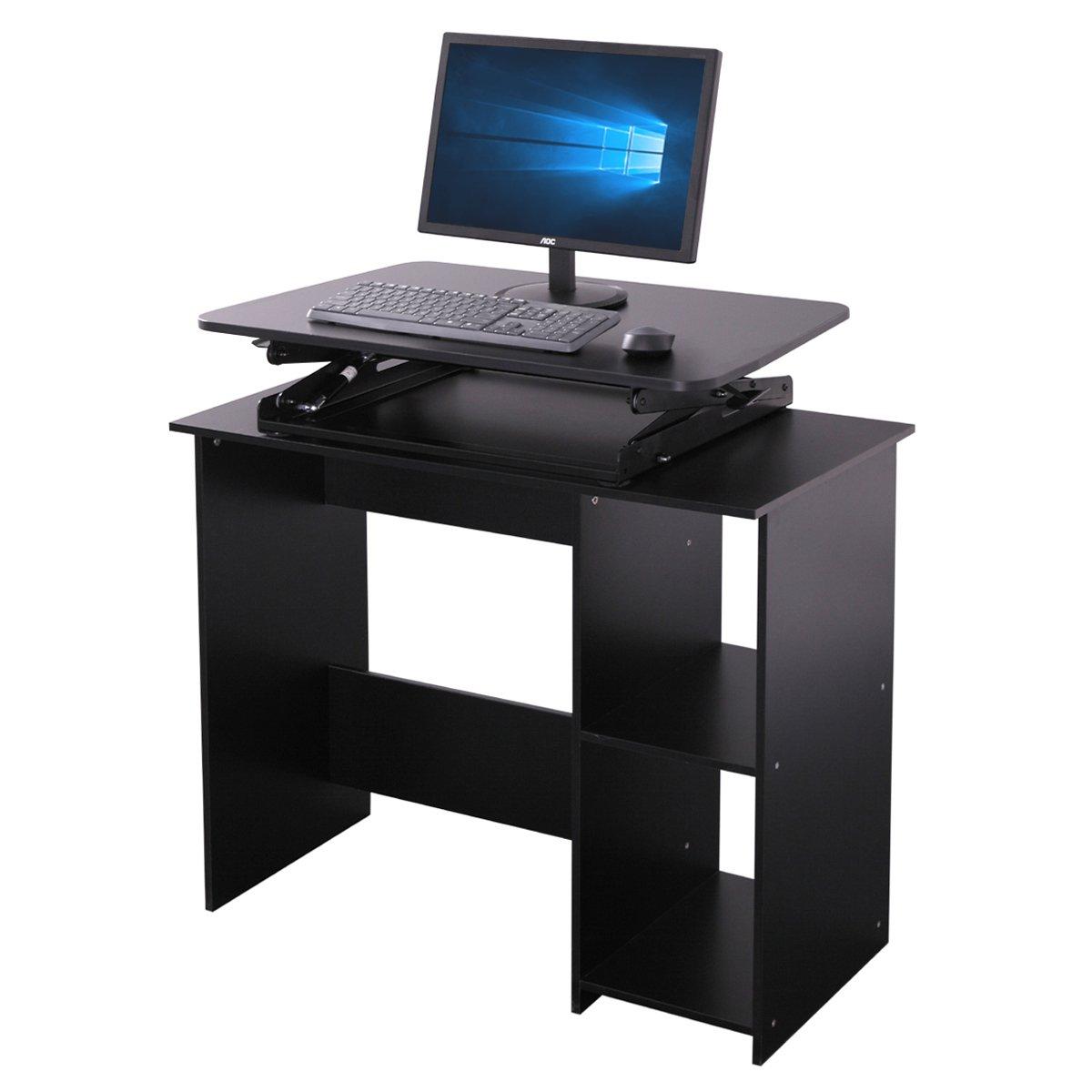 Ergonomic 30-Inch Wide Preassembled Height Adjustable Standing Desk Riser Workstation Elevating Desktop, Black
